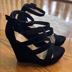 Chinese Laundry Shoes - Chinese Laundry woman's MANEEYA WEDGE SANDAL Black